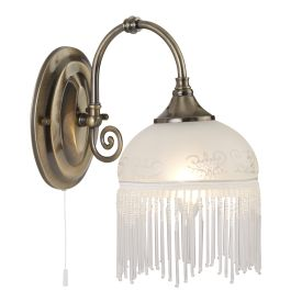 Victoriana Antique Brass Wall Light With Beaded Glass Fringe