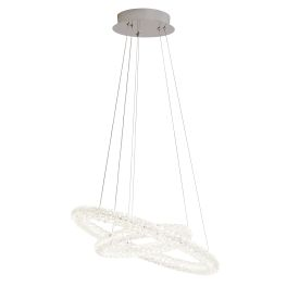 Led 2 Ring Ceiling Pendant, Chrome, Clear Crystal Decoration, Adjustable