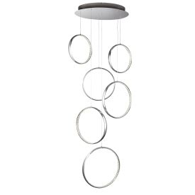 Led 6 Rings Ceiling Multi-drop Fitting, Chrome, Clear Crystal