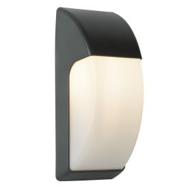 Outdoor 1 Light Crescent Wall Light (32cm) Dark Grey/opal Polycarbonate Shade