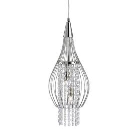 Rocket Chrome 2 Light Cage Pendant Light With Clear Crystal Buttons