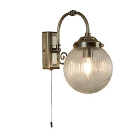 Ip44 1 Light Antique Brass Bathroom Wall Light, Clear Ridged Globe Shade