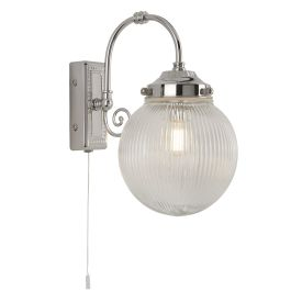 Belvue 1lt Bathroom Ip44 Wall Light, Clear Globe Shade, Chrome