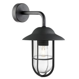 Toronto Ip44 Matt Black Outdoor Wall Lantern Clear Glass