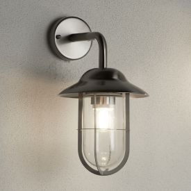 Toronto Ip44 Stainless Steel Outdoor Wall Lantern Clear Glass