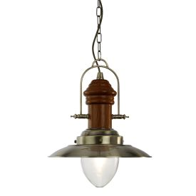 Fisherman Antique Brass Pendant Light With Dark Wood & Clear Glass Shade