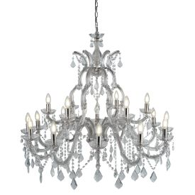 Marie Therese Chrome 18 Light Chandelier With Crystal Drops