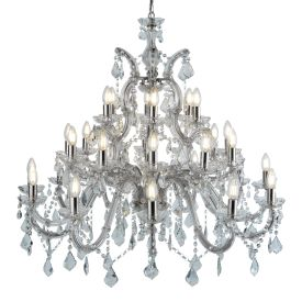 Marie Therese Chrome 30 Light Chandelier With Crystal Drops