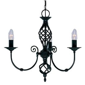 Zanzibar Metal Black 3 Light Fitting With Ornate Twisted Column