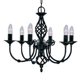 Zanzibar Metal Black 6 Light Fitting With Ornate Twisted Column
