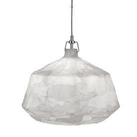 Large 1 Light Chrome/clear Suspension Acrylic Pendant (46cm Dia), White
