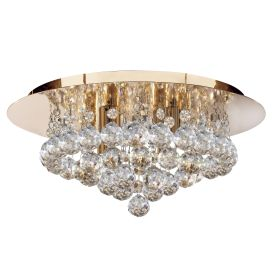 Hanna Gold 4 Light Semi-flush With Clear Crystal Balls Fitting