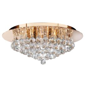 Hanna Gold 6 Light Semi-flush With Clear Crystal Balls Fitting