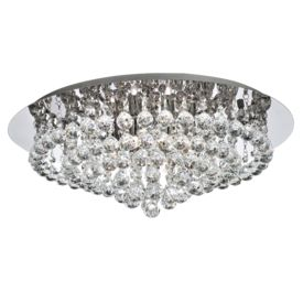 Hanna Chrome 8 Light Semi-flush With Clear Crystal Balls Fitting