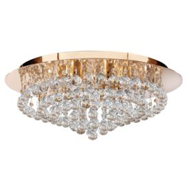 Hanna Gold 8 Light Semi-flush With Clear Crystal Balls Fitting