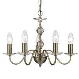 Monarch 5 Light Antique Brass Fitting With Clear Glass Sconces & Centre Balls