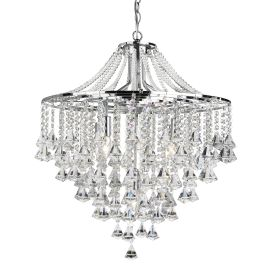 Dorchester Chrome 5 Light Chandelier With Cascading Clear Crystal Buttons