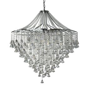 Dorchester Chrome 7 Light Chandelier With Cascading Clear Crystal Buttons