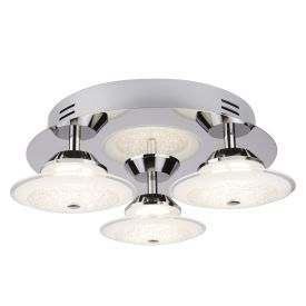 Led 3 Light Ceiling Flush Fitting, Chrome, Crushed Ice Effect Glass Shade