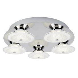 Led 5 Light Ceiling Flush Fitting, Chrome, Crushed Ice Effect Glass Shade