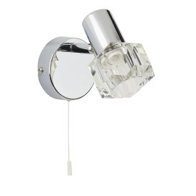 Triton Chrome Wall Spotlight With Clear Glass Shade