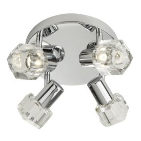 Triton Chrome 4 Light Spotlight With Clear Glass Shades