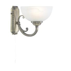 Windsor Antique Brass 1 Light Wall Light With Alabaster Glass Shade