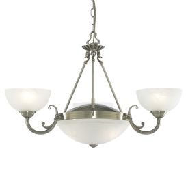 Windsor Antique Brass 5 Light Fitting With Alabaster Glass Shades