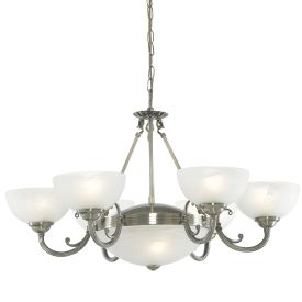 Windsor Antique Brass 8 Light Fitting With Alabaster Glass Shades