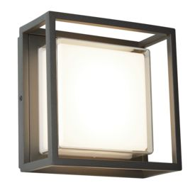 Aluminium Outdoor Led Square, Dark Grey, White/clear Diffuser Wall Flush