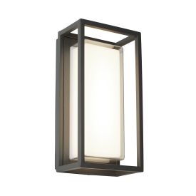 Bel Aire Aluminium Ip44 Black Outdoor  Wall Light Polycarbonate Diffuser