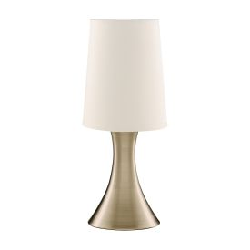 Antique Brass Touch Table Lamp With White Fabric Shade