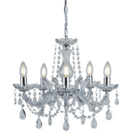 Marie Therese Chrome 5 Light Chandelier With Crystal Drops