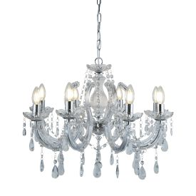 Marie Therese Chrome 8 Light Chandelier With Crystal Drops