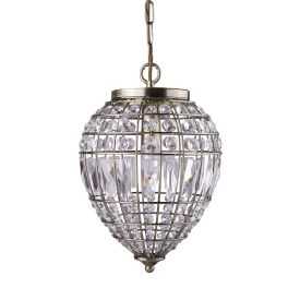 Antique Brass Pendant Light With Crystal Glass Buttons