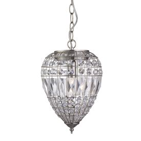 Satin Silver Pendant Light With Crystal Glass Buttons