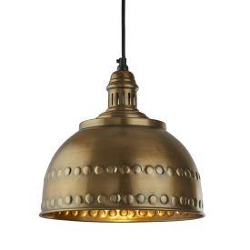 Industrial Embossed Pendant, Antique Brass Finish