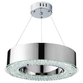 Halo Chrome Led Pendant Light With Clear Crystal Decoration, Adjustable Height