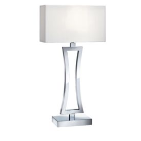 Chrome Curved Rectangular Table Lamp With White Oblong Shade