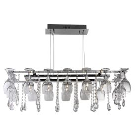 Vino Chrome 10 Light Metal Fitting With Crystal Button Drops & Wine Glass