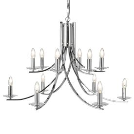 Ascona Chrome 12 Light Fitting With Clear Glass Sconces