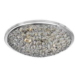 Orion Chrome 3 Light Semi Flush Fitting With Clear Crystal Buttons