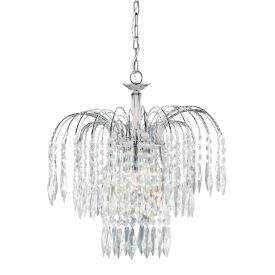 Waterfall Chrome 3 Light Ceiling Fitting With Crystal Button & Drops Decoration