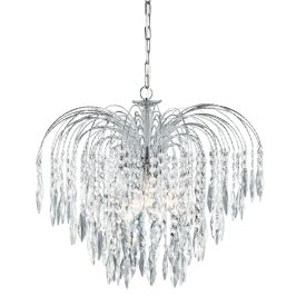 Waterfall Chrome 5 Light Ceiling Fitting With Crystal Buttons & Drops