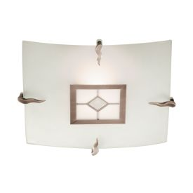 Square Tiffany Glass Antique Brass Flush Fitting With Amber & Frosted Glass