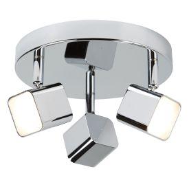 3 Light Led Square Head Spot Plate, Chrome