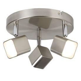 3 Light Led Square Head Spot Plate, Satin Silver