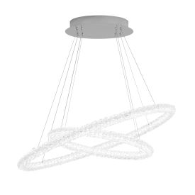 Led 2 Circle Ring Ceiling Pendant, Chrome, Clear Crystal Glasses