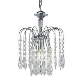 Waterfall Chrome Pendant Light With Crystal Buttons & Drops