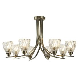 Ascona Ii - 8 Light Semi Flush Fitting, Antique Brass Twist Frame, Twisted Glass